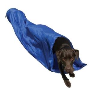 Agility tunnel i blå til hundetræning