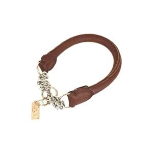halv kvæler hundehalsbånd læder brunt