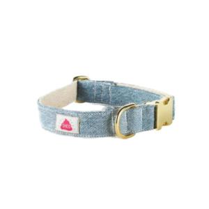 denim hundehalsbånd lyseblå